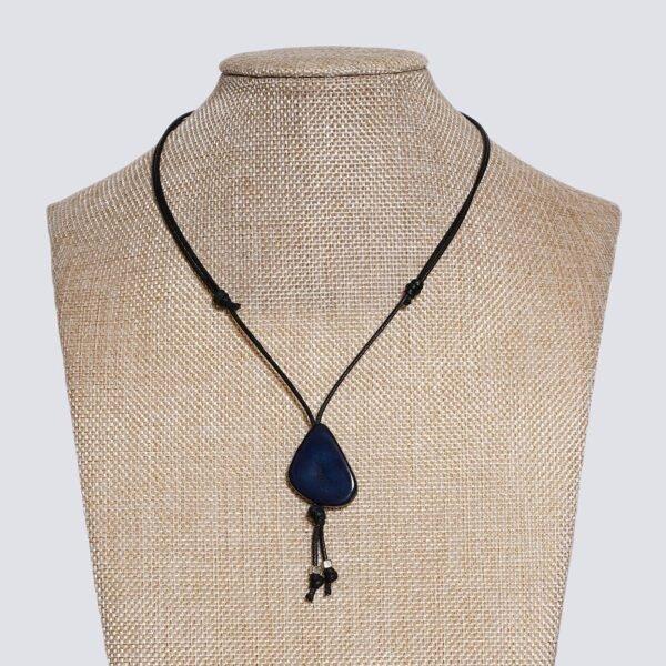 Girocollo fetta Tagua colorata blu