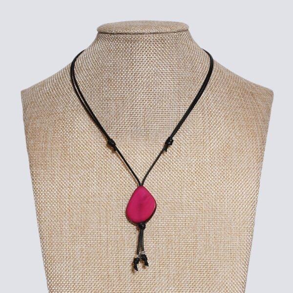 Girocollo fetta Tagua colorata rosa